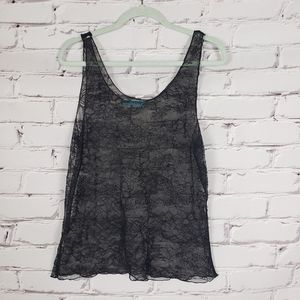 Alice & Olivia Black Lace Tank Top